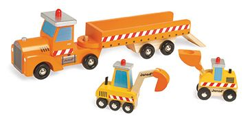 Janod wooden construction includes semi dump truck, digger and excavator. Is an ideal first set. Age:  18 months +#toys2learn #Janod#toddler#woddentoys #trucks#preshcooler#play#diggers,loaders#
