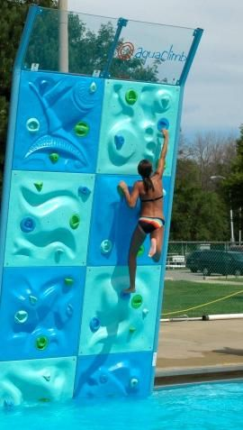 Aquaclimb - rock wall for your pool! so awesome. @Margie Lou Colyar, I can see you having this!
