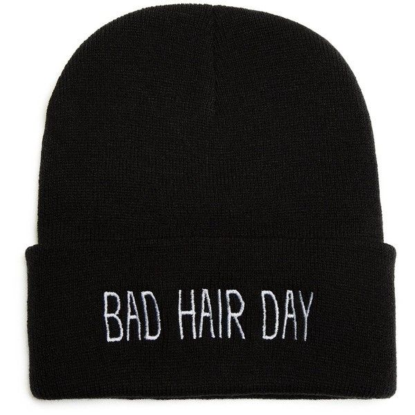 Bad Hair Day Beanie One Size Black ($14) ❤ liked on Polyvore featuring accessories, hats, beanie, beanie cap, beanie cap hat and beanie hats