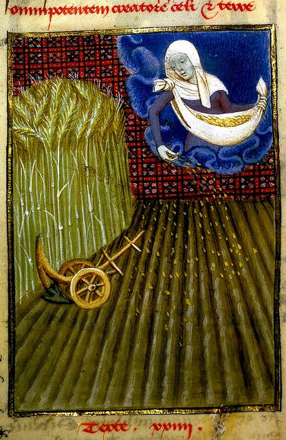 Ceres sowing corn. French c.1410-14. Christine de Pizan. Harley 4431 BL