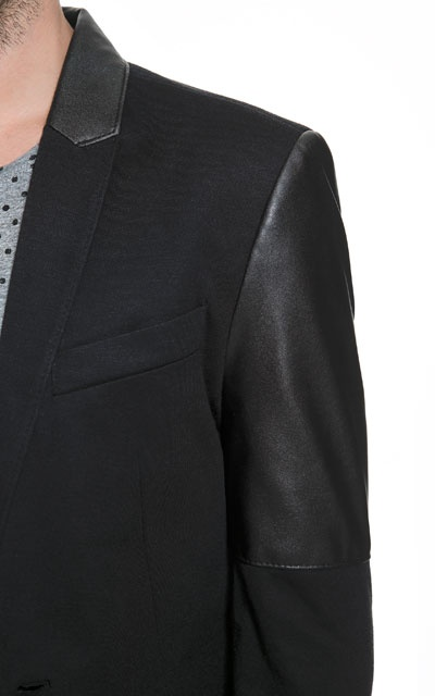 BLAZER WITH FAUX LEATHER SLEEVES - Blazers - Man - ZARA India Ref. 1608/413,  4,790 INR