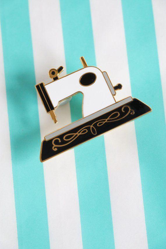 Black sewing machine enamel pin crafty enamel pinhard enamel