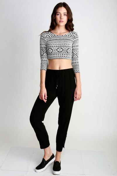 LONG SLEEVED MOHAIR TRIBAL PRINTED CROPPED TOP