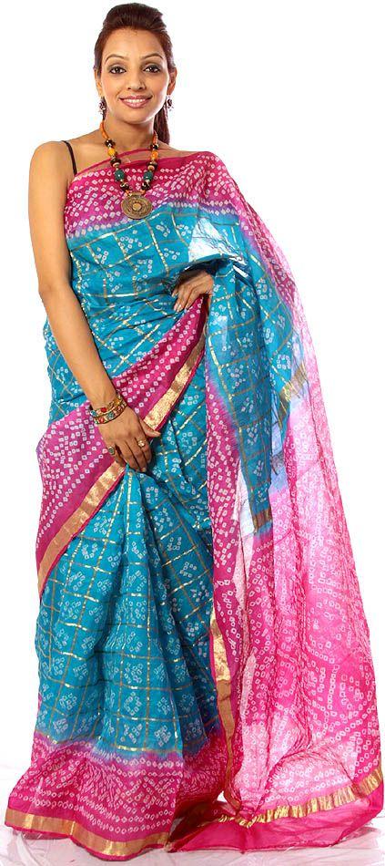 Turquoise and Pink Bandhani Gharchola Sari from Gujarat