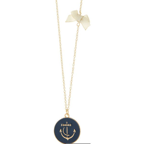 Accessorize Anchor Disc Long Pendant Necklace ($5.75) ❤ liked on Polyvore featuring jewelry, necklaces, enamel necklace, long bow necklace, enamel pendant necklace, nautical necklaces and nautical pendants