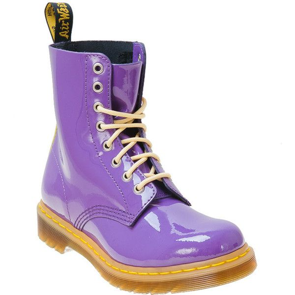 Dr. Martens Women's Pascal Purple/Yellow Lace-Up Boot (112,135 KRW) ❤ liked on Polyvore featuring shoes, boots, ankle booties, purple, ankle boots, leather boots, lace up booties, leather booties and short heel boots