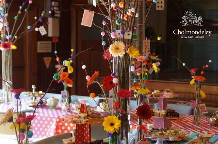 Fabulous table displays created by the organisers of a Mad Hatter Tea Party, raising funds for Cholmondeley. Cholmondeley offers children short term planned and emergency respite care during times of stress and crisis. Support us and take part in CBMT 2016 this August by registering http://cbmt2016.eventbrite.co.nz