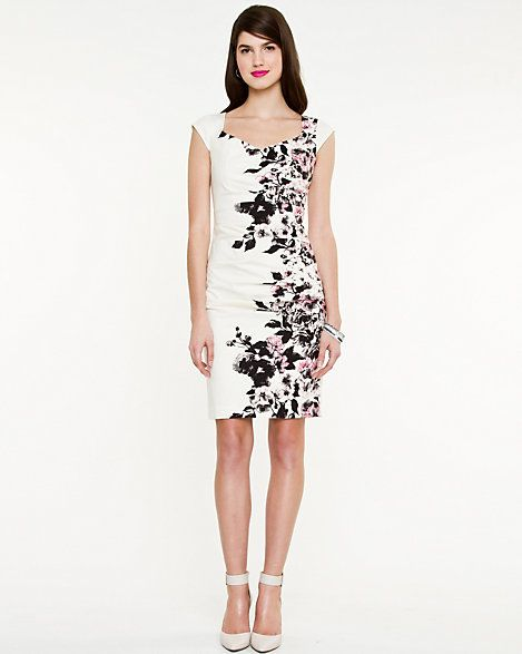 Floral Placement Fitted Dress