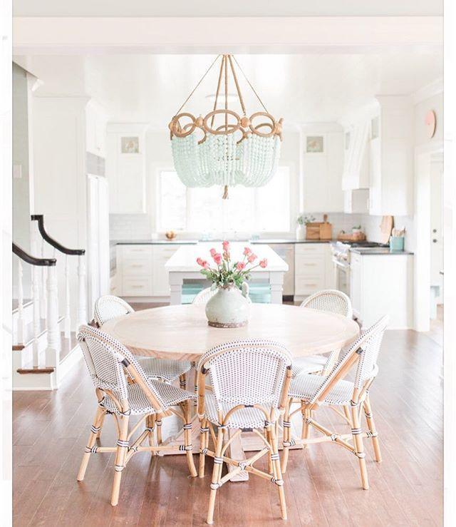 The coastal dining nook | Riviera Side Chair via Serena & Lily | Image via @sweetchaoshome