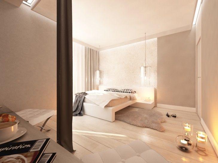 Aranżacja wnętrza beżowej sypialni w rezydencji pod Warszawą. Przestronne pomieszczenie wykończone jasnym drewnem, z kryształowymi, wiszącymi lampami nad łóżkiem...