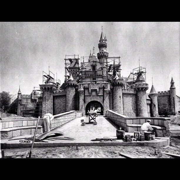 SleepingBeauty castle at Disneyland in 1954 being built