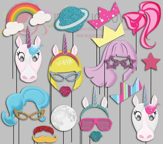 Unicorn Party Photo Booth Props, Pony, Megical, Dream Party Photo Props