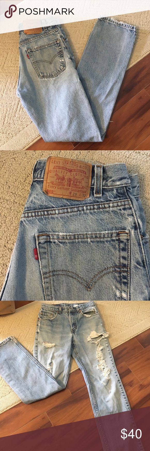 ⭐️️Vintage⭐️️ Levi's 505 distressed denim W29xL32 distressed denim Levi jeans. High wasted, I'm usually a 27 but these fit me perfectly. Hugs the butt ❤️️ last photo is a similar pair. Different destress Levi's Jeans Boyfriend