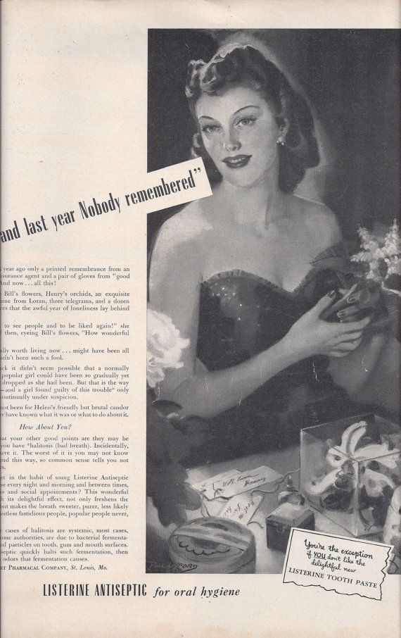 1942 Magazine Ad for Listerine Mouthwash & by VictorianWardrobe, $4.00