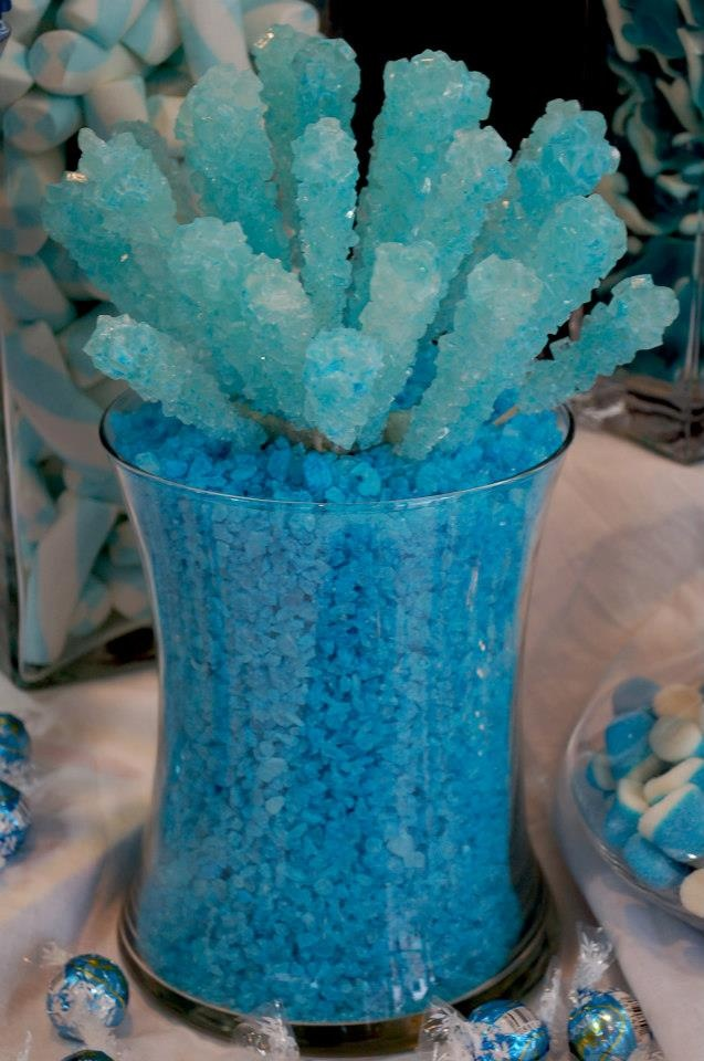 Blue Rock Candy as table centerpieces. That would be cool.