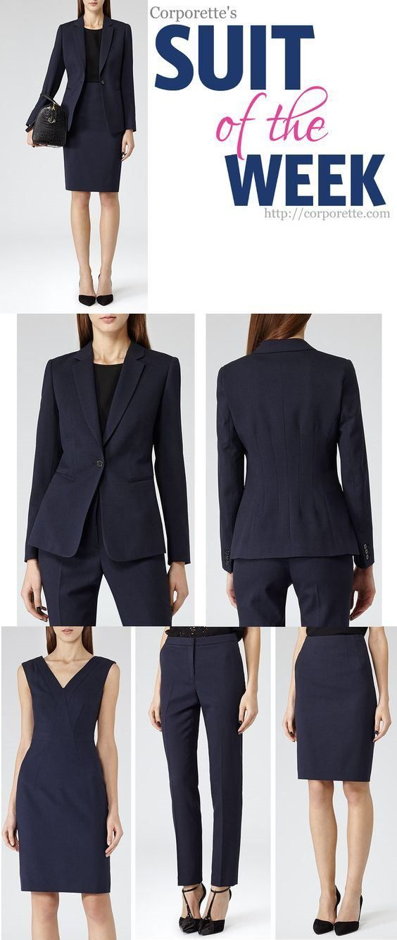 For busy working women, the suit is often the easiest outfit to throw on in the morning. In general, this feature is not about interview suits for women, which should be as classic and basic as you get -- instead, this feature is about the slightly different suit that is fashionable, yet professional.   The dress is whatcaught my eye here first -- a nice high V withdarts, an inset waist, wide shoulders... I love that you can wear it with or without belt. But the rest of the set is pretty…