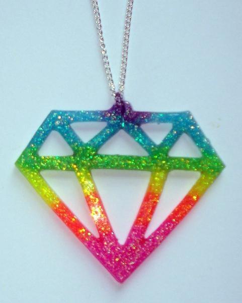 Wish | Neon glitter rainbow UV glow emo scene diamond necklace