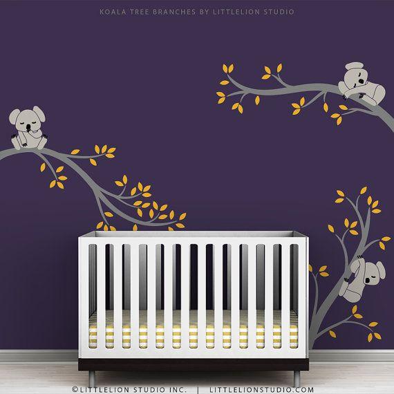 $62.67 Wall Decal Kids Purple Wall Room Decor Cute Baby Wall Sticker - Koala Tree Branches by LittleLion Studio