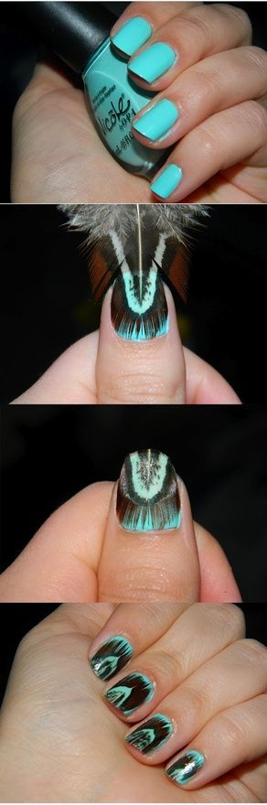 apply base like the teal color apply feather trim it all off then put a heavy heavy layer of top coat to seal the feather in