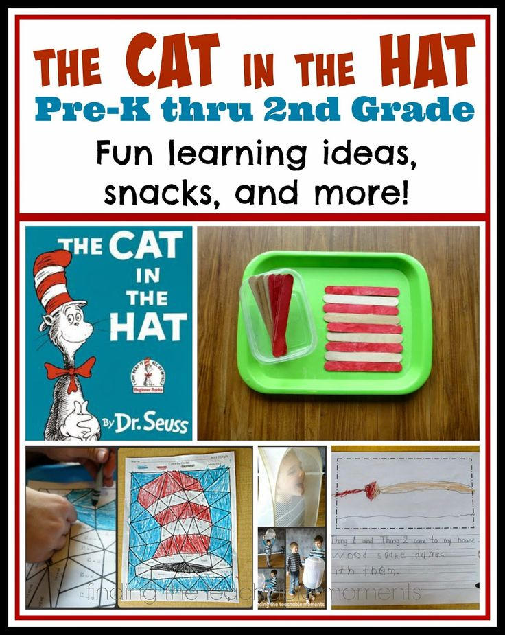The Cat in the Hat activities for Pre-K thru 2nd grade.  Includes literacy, math, writing, play, and snack ideas