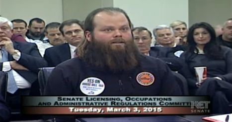 Daniel Harrison, founder and owner of Country Boy Brewing, testifies for Hb 168 in Senate committee