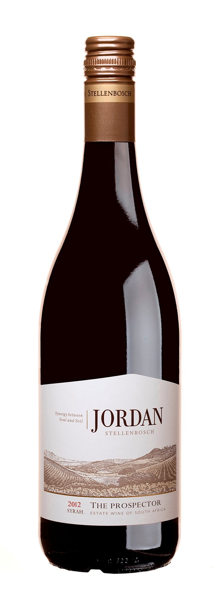 100% Syrah - The Prospector - The gold rush of the 1800's led to the discovery of tin in the gravels underlying the Syrah vineyards at Jordan. These minerals lend particular characteristics to this Syrah with its rich, dense, dark chocolate, black fruit and fynbos flavours interlaced with white pepper. Barrel maturation adds toasty nuances to the richly textured structure.