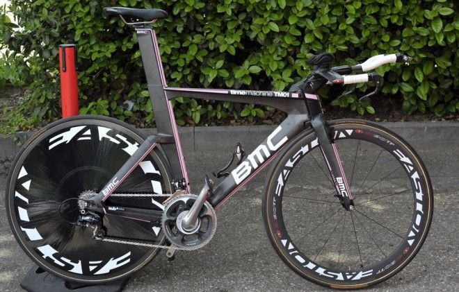 "Taylor Phinney's pink TimeMachine TM01. Confidence is everything, and Taylor Phinney has it in spades. The young Team BMC rider made the decision last fall to target the opening prologue at the 2012 Giro d'Italia, and had the confidence to request pink road and time trial bikes from BMC technical coordinator Stefano Cattai in December. Cattai told him, ""OK, but you have to keep the jersey to Verona then!"" Photo: Caley Fretz 