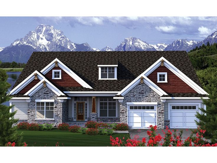 Gable roof lines blend with shingle siding and stone to for Single roof line house plans