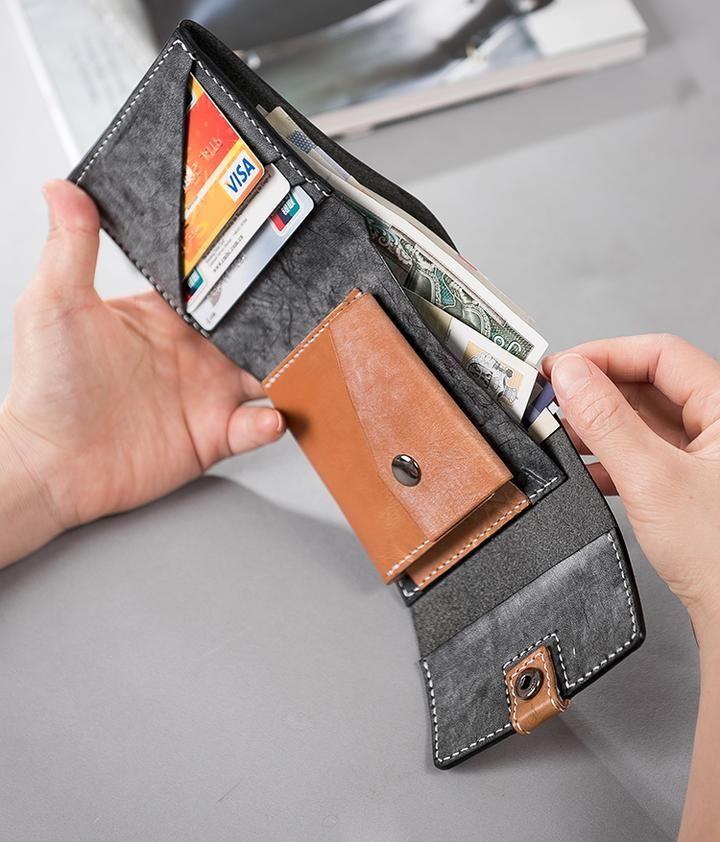<b>Genuine Leather</b> Handstitched <b>Wallet</b> Folded <b>Short Wallet</b> Clutch ...