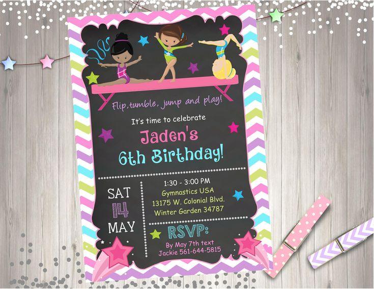 Gymnastics Birthday Invitation Invite chalkboard gymnastics invitation tumbling cartwheels gymnastics party printables CHOOSE YOUR GIRLS