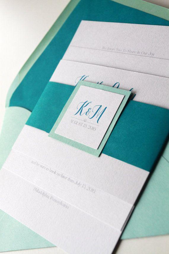Aqua And Teal Wedding Invitations By Goldensilhouette |  Http://emmalinebride.com/