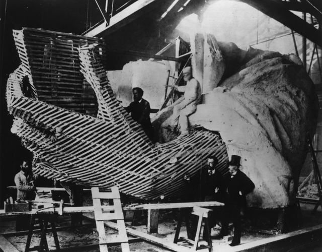 The Statue of Liberty being worked on in Architect, Frederic Auguste Bartholdi's Workshop in Paris, unknown year. Photo from Gothamist.com