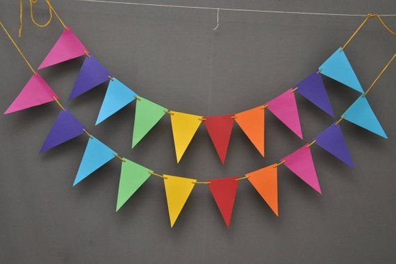 Color Flag Banner For Baby Shower Birthday Wedding Party High Chair Ornament B
