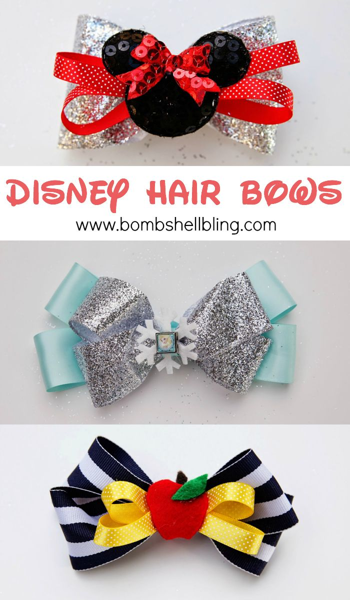 Disney Hair Bows - Step by step instructions - Elsa, Minnie & Snow White