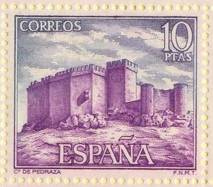 Sello de correos con la imagen del Castillo de Pedraza