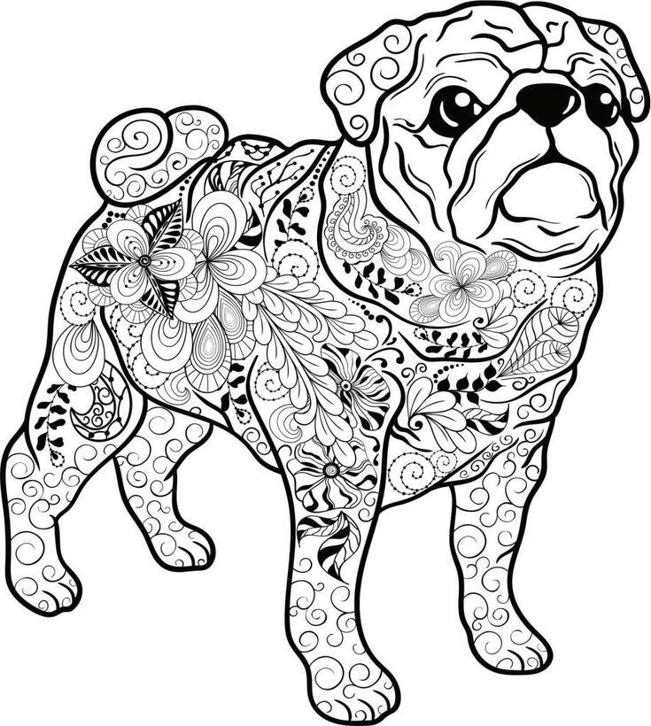 Kostenloses Ausmalbild Hund - Mops. Die gratis Mandala Malvorlage einfach ausdrucken und ausmalen.