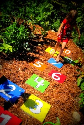 Hopscotch Stepping Stones - fun idea for back yard summer fun.  The kids can help decorate them too.