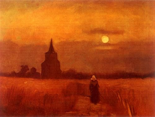 The Old Tower in the Fields, Vincent van Gogh, 1884. #art
