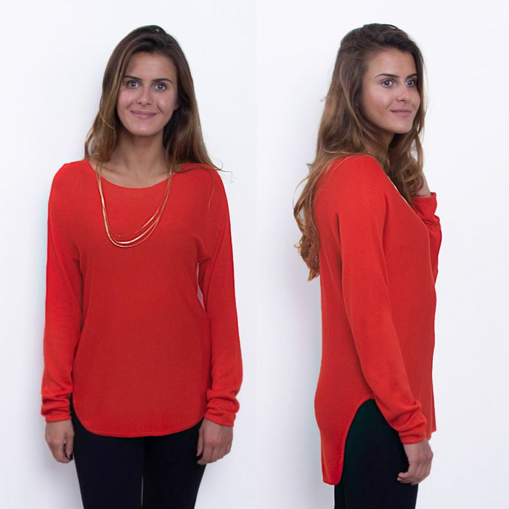 Elegant and Comfy | Anna Sweater in Red | Scandinavian Style in Clothing