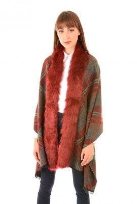 Jayley Blue Cashmere Wrap | Faux Fur Collar