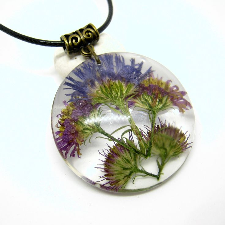 <b>Flower pendant</b> with real blossom, Resin <b>jewelry</b> bohemian style ...