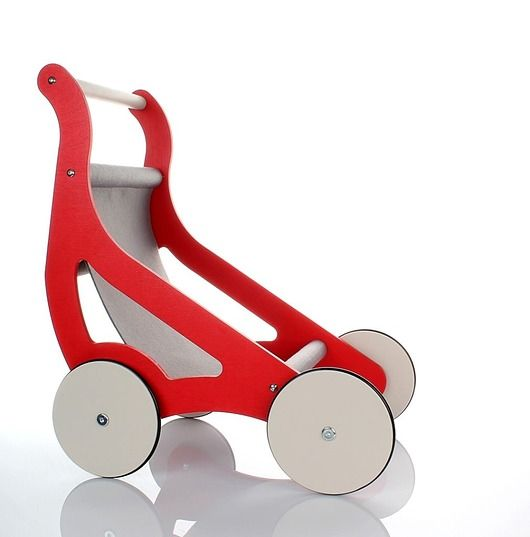 zabawki - klocki i zabawki drewniane-Designerski drewniany wózek dla lalek 10 kolorów