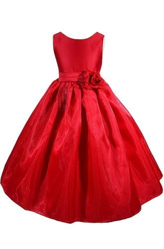 New red flower girl christmas wedding dress size toddler to 12 sz 6