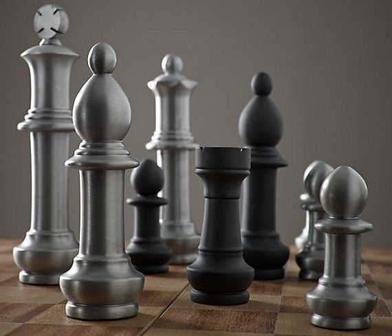 Captivating RHu0027s Giant Vintage Chess Set:Grand In Style And Scale, Our Vintage Chess Set  Features Oversized Aluminum Chessmen And A Beautifully Inlaid Wooden Board  ...
