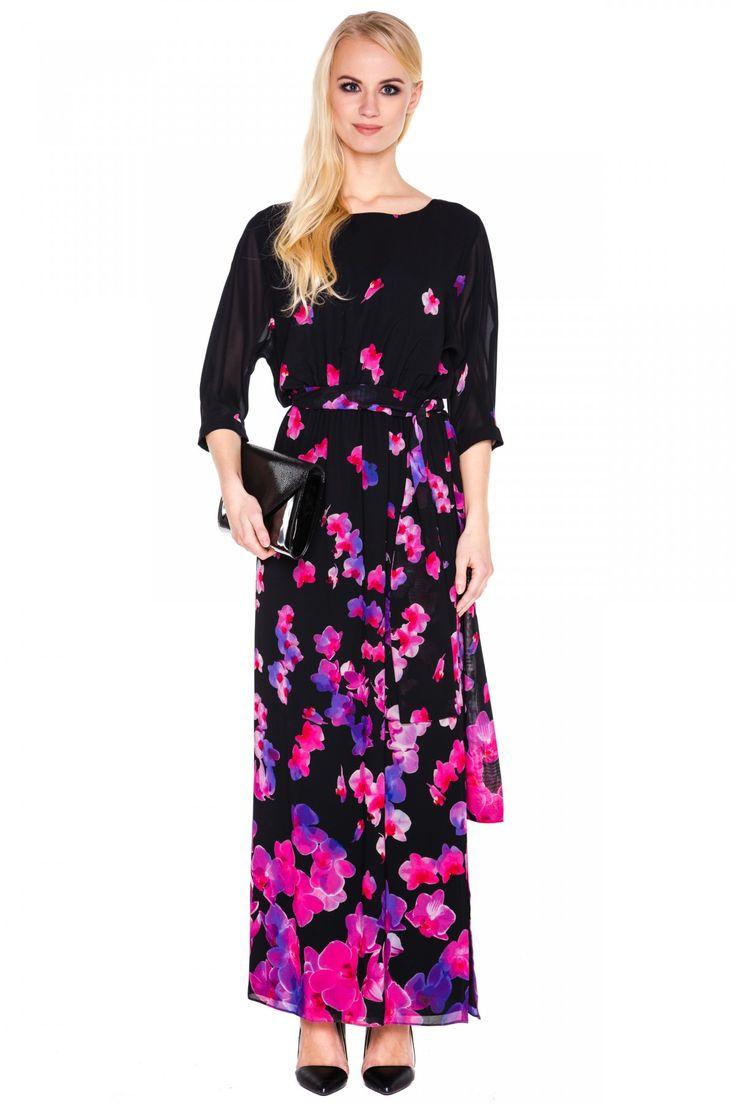 Długa sukienka w różowe kwiaty - L'ame de Femme