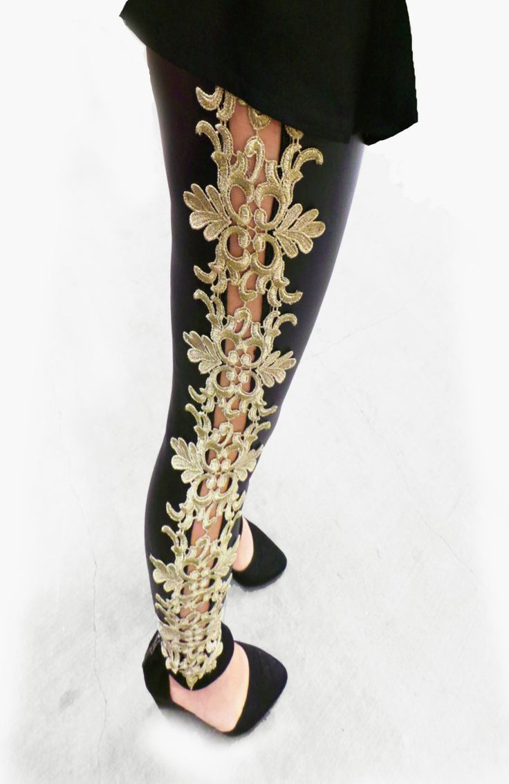 Details About Faux Leather Gold Embroidery Leggings