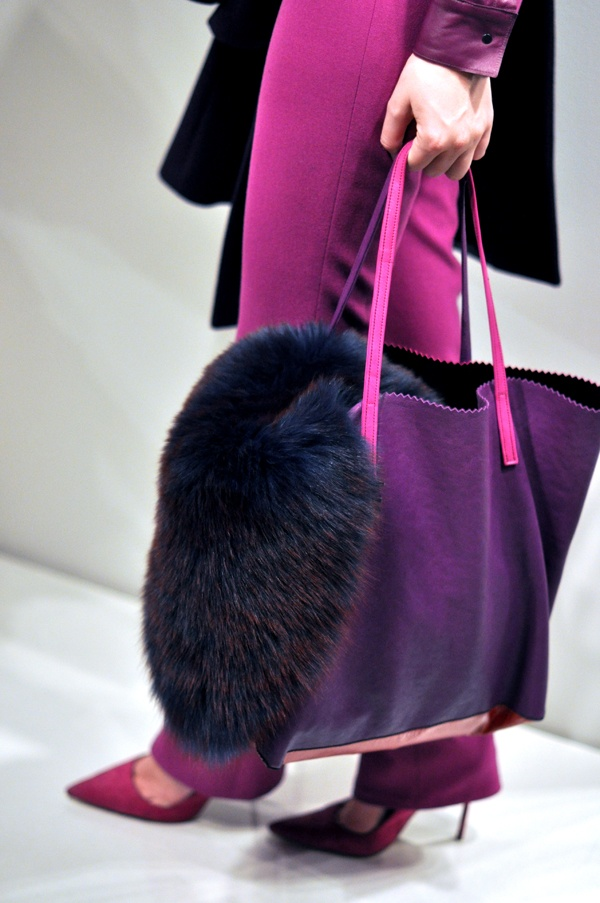 purple at the Elie Tahari F/W Show. Everybody is looking at the amazing purple. I love how dramatic the fur is.