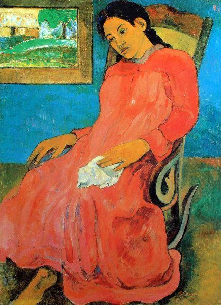 Paul Gauguin - Tahiti - La femme à la robe rouge, boudeuse - The woman with red dress - 1891