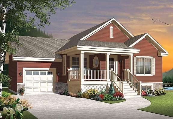 Modèle champêtre à prix budgétaire avec garage simple, plan de maison no. 3126-V1