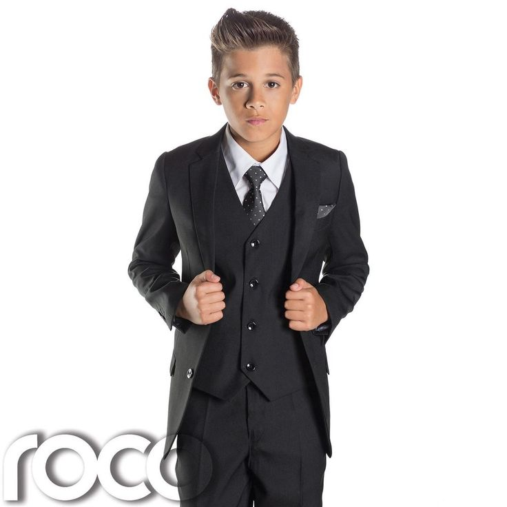 Boys Black Suit, Page Boy Suits, Slim Fit Suit, Prom Suits, Boys Tuxedo #PaisleyofLondon